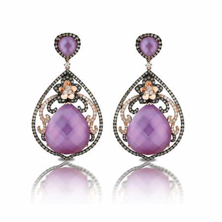 Doves Diamond 18k Rose Gold Mother of Pearl and Amethyst Dangle Earrings