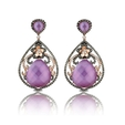 2.30ct Doves Diamond, Pink Mother of Pearl and Amethyst, 18k Rose Gold Dangle Earrings