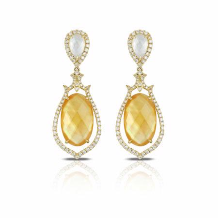 Doves Diamond 18k Yellow Gold White Topaz, Citrine, Mother of Pearl Dangle Earrings