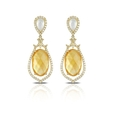.86ct Doves Diamond, White Topaz, Citrine, White Mother of Pearl, 18k Yellow Gold Dangle Earrings