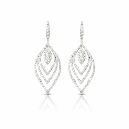 Doves Diamond 18k White Gold Dangle Earrings