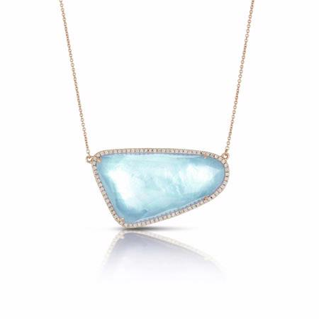 Doves Diamond 18k Rose Gold Blue Topaz and White Mother of Pearl Necklace