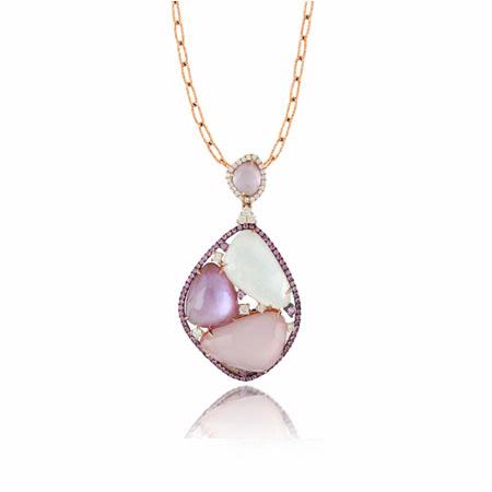 Doves Diamond 18k Rose Gold Sapphire, Topaz, Quartz, Mother of Peal, and Amethyst Pendant