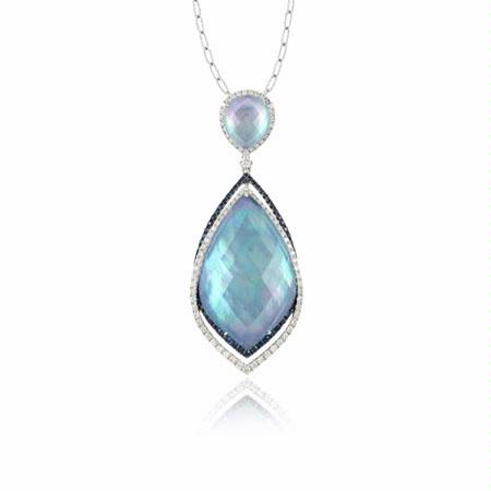 Doves Diamond 18k White Gold Sapphire, White Topaz, White Mother of Pearl, and Lapis Pendant