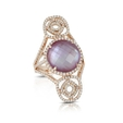 .98ct Diamond, Amethyst Pink Mother of Pearl 18k Rose Gold Ring.
