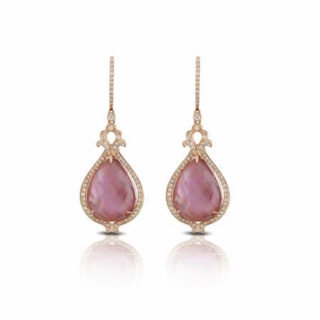 Doves Diamond 18k Rose Gold Pink Mother of Pearl and Amethyst Dangle Earrings