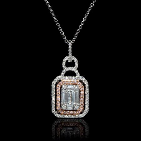 Simon G Diamond 18k Two Tone Gold Mosaic Pendant