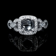 .23ct Simon G Diamond Antique Style 18k White Gold Halo Engagement Ring Setting