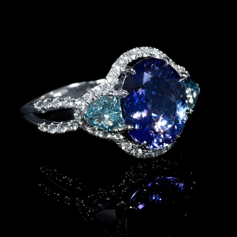 42ct diamond tanzanite and aquamarine 18k white gold ring