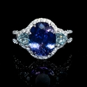 Diamond Tanzanite and Aquamarine 18K White Gold Ring