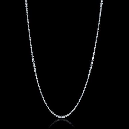 Diamond 18k White Gold Graduated Tennis Opera Necklace