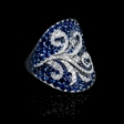 0.73ct Simon G Diamond Blue Sapphire 18k White Gold Ring