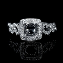 Simon G Diamond Antique Style 18k White Gold Antique Engagement Ring Setting