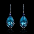 1.50ct Sapphire, Blue Topaz and Iolite 18k White Gold Dangle Earrings.