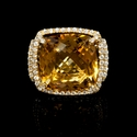 Diamond and Citrine 18k Yellow Gold Ring