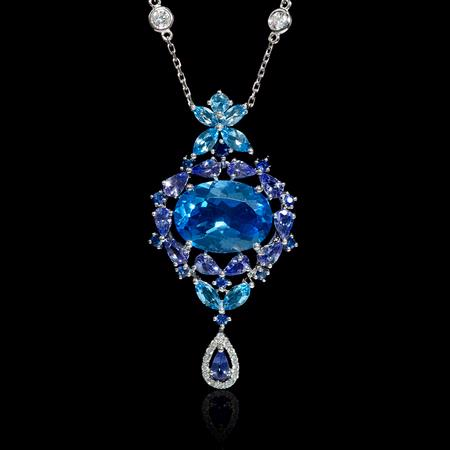 Diamond Sapphire Tanzanite and Blue Topaz 18k White Gold Pendant