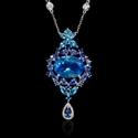 Diamond Sapphire Tanzanite and Blue Topaz 18k White Gold Pendant Necklace