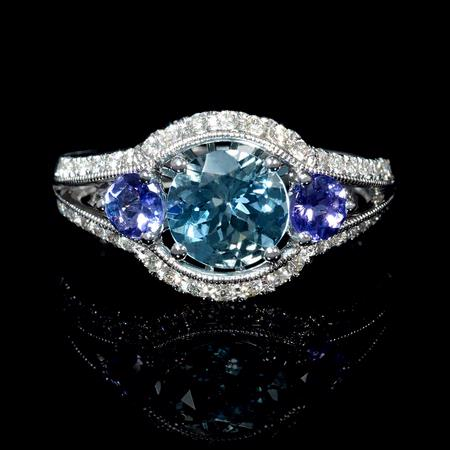Diamond Antique Style Tanzanite and Aquamarine 18K White Gold Ring