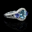 .37ct Diamond Antique Style and Aquamarine 18k White Gold Ring