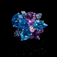 12.06ct Blue Topaz Amethyst and Sapphire 18k White Gold Ring