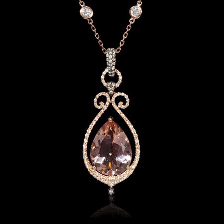 Diamond Morganite and Black Rhodium 14k Rose Gold Pendant