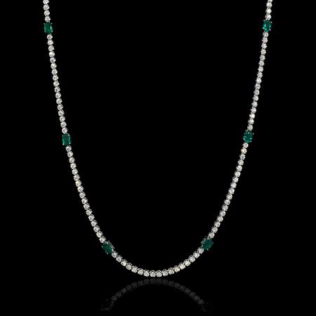 Diamond and Emerald 18k White Gold Opera Necklace