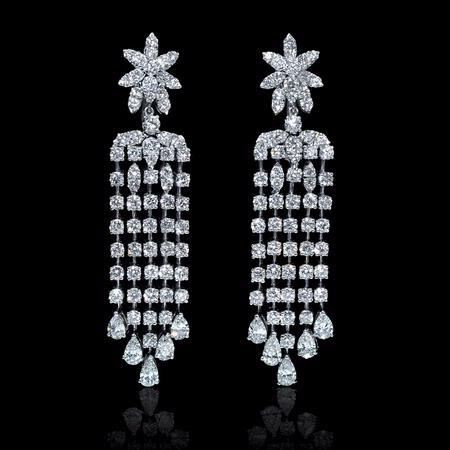 1013ct diamond 18k white gold chandelier earrings aloadofball Gallery