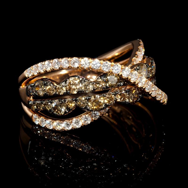 ct LeVian Chocolate Diamond and Black Rhodium 14K Strawberry Gold Ring