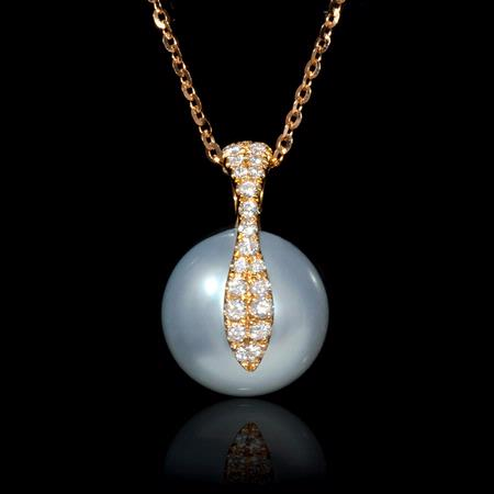 Diamond South Sea Pearl 18k Rose Gold Pendant Necklace