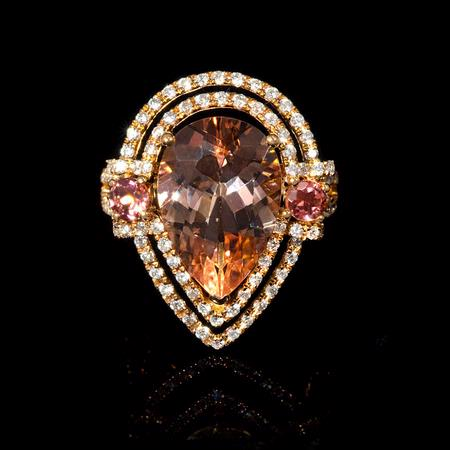 Diamond Sapphire and Pear Shaped Morganite 18k Rose Gold Ring