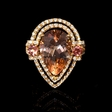 .85ct Diamond Sapphire Pear Shaped and Morganite 18k Rose Gold Ring