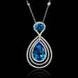 11.49ct Diamond and Blue Topaz 18k White Gold Pendant