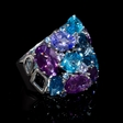 17.47ct Sapphire,Tanzanite, Blue Topaz, and Amethyst, 18k White Gold Ring