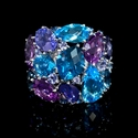 Sapphire Tanzanite Blue Topaz and Amethyst  18K White Gold Ring