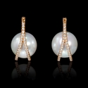 Diamond and South Sea Pearl 18k Rose Gold  Earrings