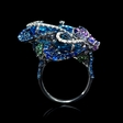 .40ct Sapphire, Tanzanite, Blue Topaz, Amethyst, and Tourmaline 18k White Gold Ring