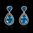.90ct Diamond and Blue Topaz 18k White Gold Dangle Earrings