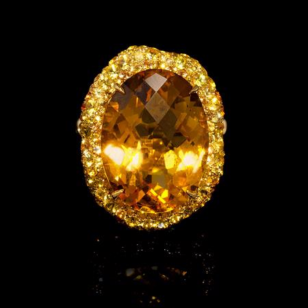24.25ct Diamond, Yellow Sapphire and Citrine 18k Yellow Gold Ring