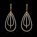 Diamond 18k Two Tone Gold Dangle Earrings