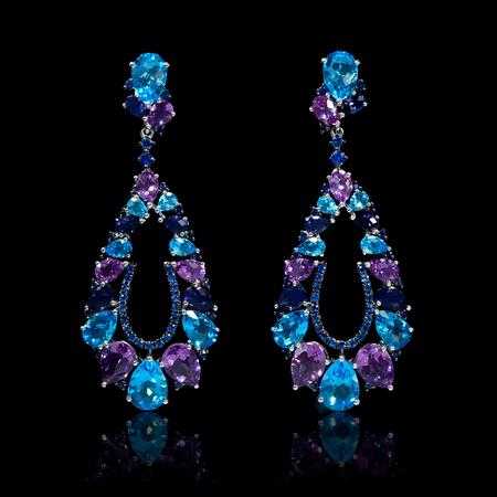 Blue Sapphire Blue Topaz Amethyst and Iolite 18k White Gold Dangle Earrings