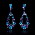 27.64ct Blue Sapphire, Blue Topaz and Iolite 18k White Gold Dangle Earrings