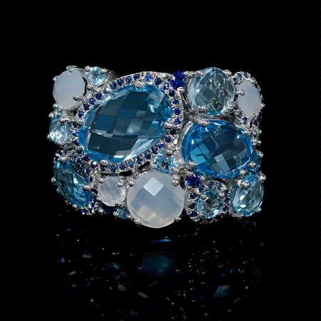 Blue Topaz and Chalcedony 14k White Gold Ring