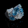 8.54ct Blue Topaz and Chalcedony 14k White Gold Ring