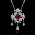 .60ct Diamond and Pink Tourmaline 18k White Gold Necklace