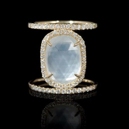 Diamond White Topaz over Opal 14k Yellow Gold Ring