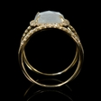 .30ct Diamond White Topaz over Opal 14k Yellow Gold Ring