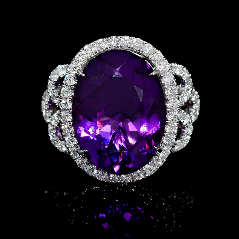 1 01ct and purple amethyst 18k white gold ring