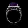 1.01ct Diamond and Purple Amethyst 18k White Gold Ring