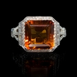 .81ct Diamond and Citrine 18k White Gold Ring