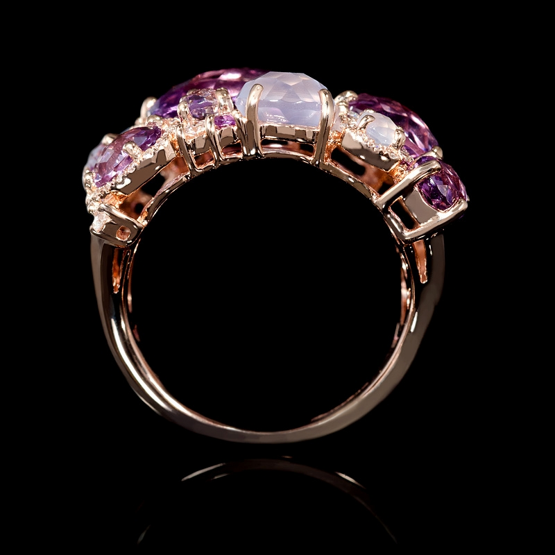 32ct Diamond Purple And Pink Amethyst And Chalcedony 14k